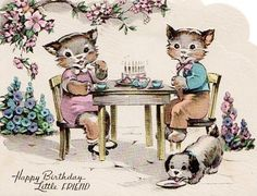 Clothed Cats Cute vintage birthday card with kittens – Happy Birthday Little Friend Sharing is caring, don't forget to share ! Old Time Christmas, Vintage Christmas Cards, Christmas Cats, Happy Birthday Owl, Happy Birthday Vintage, Vintage Greeting Cards, Birthday Greeting Cards, Animal Magazines, Vintage Cat