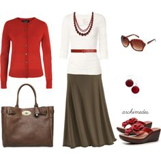 A fashion look from February 2012 featuring red cardigan, white t shirt and yoga skirt. Browse and shop related looks.