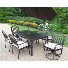 Oakland Living Rochester 8-Piece Hammer Tone Bronze Iron Patio Dining Set