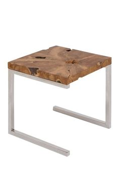 Wood and Stainless Side Table. Use some old chair pieces and some left out burl. Just go hunting for the materials...they have been discarded out there somewhere.