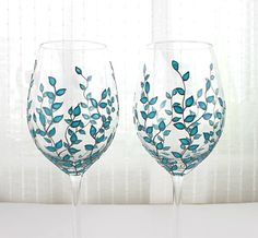Two Multi Colored Bubbles Wine Glasses Hand Painted by ArtMasha Blue Wine Glasses, Wedding Wine Glasses, Hand Painted Wine Glasses, Wine Bottle Art, Wine Bottle Crafts, Colored Bubbles, Christmas Glasses, Glass Painting Designs, Wine Painting