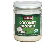 """CREAMY WHOLE COCONUT: Coconut Manna is a delicious whole food, made of pure, dried coconut flesh. This tropical """"melts in your mouth"""" treat contains 12% fiber and 9% protein and nourishing fats. Warm it up to spread the goodness. Discover great Coconut Manna Recipes for smoothies, sauces, dressings, desserts, icing, and ice cream. To liquify, place jar in hot water for 2 minutes and stir. Note: the red or brown specks are characteristic of natural coconut products. Coconut Manna is creamy"""