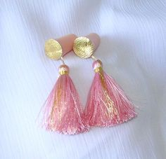 PINK gold circle silky thread perfect for travel handmade Holly Golightly Breakfast at Tiffanys inspired gold tassel ear plug on Etsy, $22.95