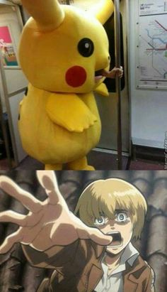Pikachu suit, train, Armin Arlert, funny, comic; Attack on Titan