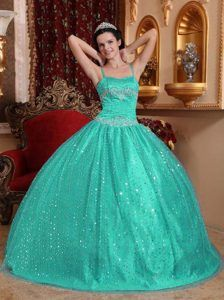Turquoise Spaghetti Straps Stunning Quinceanera Gown Dresses with Sequin
