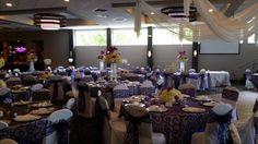 Grand Room wedding setup. Purple, Silver and Diamonds!