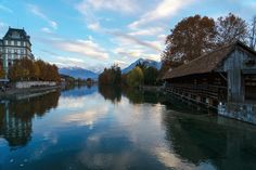 The river Aare empties into Lake Thun and reveals a wonderful view of the Alps. Best Of Switzerland, Lake Thun, Bern, Alps, Empty, River, Rivers