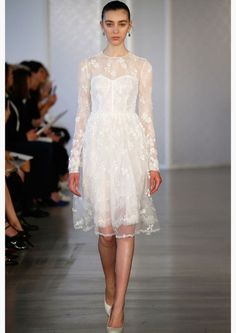 See all the looks from the Oscar de la Renta's bridal collection from the bridal fashion week below : . Short Wedding Gowns, Tea Length Wedding Dress, Best Wedding Dresses, Lace Wedding, Dream Wedding, White Bridal Dresses, Little White Dresses, Bridal Gowns, Rehearsal Dinner Dresses