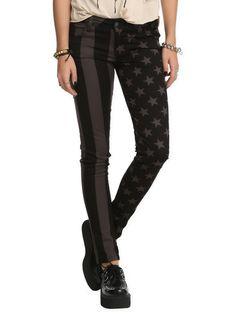 Royal Bones Stars & Stripes Split Leg Skinny Jeans   Hot Topic