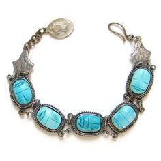 Vintage Egyptian Revival Blue Faience Scarab Silver by redroselady