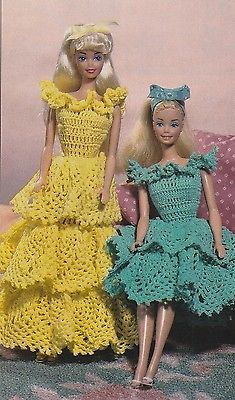 Crochet Pattern ~ Fashion Doll Pineapple Ruffles Dress Gown ~ Instructions