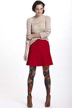notched red felt skirt with sweater and tights -- I like those tights