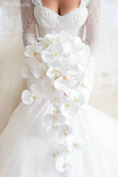 Elaborate wedding with Pops of Pink - Wedding Bouquets .- Lavish Wedding with Pops of Pink – Wedding Bouquets # Lavish - White Orchid Bouquet, Orchid Bridal Bouquets, Cascading Wedding Bouquets, Summer Wedding Bouquets, Lilac Wedding, White Wedding Flowers, White Orchids, Bride Bouquets, Bridal Flowers