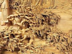 40 Beautiful Wood Carving Sculptures and Designs from around the world - Part 2 Wood Carving Designs, Wood Carving Art, Wooden Art, Picture On Wood, Wood Sculpture, Wood Paneling, Asian Art, Art Decor, Creative