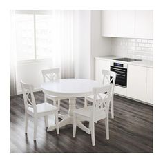 Simple, white, cottagey feel, and extendable. IKEA INGATORP Extendable table $349; seats 4-6