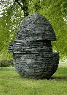 """""""Displaced Egg"""" drystone sculpture -- by Max Nowell"""