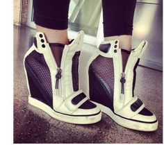 Womens Velcro Platform Wedge Heel Athletic High Heels Sneakers Shoes Ankle Boots #Unbranded #Fashion