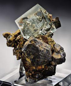 Minerals:Crystals, FLUORITE & CHALCOPYRITE ON GALENA. ...
