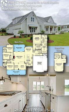Plan Modern Farmhouse Plan with Bonus Room Architectural Designs Modern Farmhouse Plan built in reverse orientation in North Carolina by Thornton Builders! of living space plus a bonus room over the… Continue Reading → New House Plans, Dream House Plans, My Dream Home, Dream Houses, Log Houses, Family House Plans, House Design Plans, 2200 Sq Ft House Plans, Four Bedroom House Plans