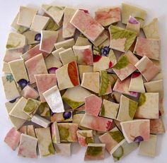 140 Mosaic Tiles Fruit Broken China Colorful by Palscreations