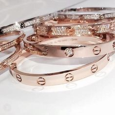 gold and diamond cartier gold band bracelets Love Bracelets, Cartier Love Bracelet, Bangles, Chanel Bracelet, Cartier Jewelry, Chanel Jewelry, Layered Bracelets, Jewelry Accessories, Fashion Accessories