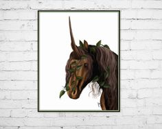 Art Print, 8x10 Mystical Brown Unicorn in Ivy - pinned by pin4etsy.com
