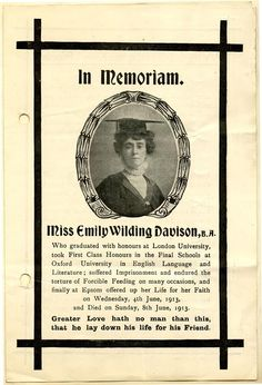 Suffragette Emily Wilding Davison's memorial leaflet. Davison died from I juries sustained after a collision with the King's horse at the Epsom Derby in 1913.