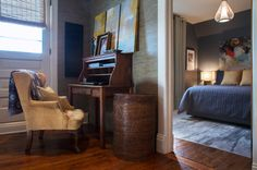 Eclectic Bedroom by Margot Hartford Photography....old secretary desk
