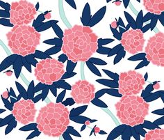 Paeonia in Pink and Navy fabric by sparrowsong on Spoonflower - custom fabric