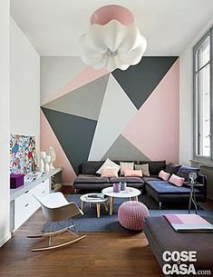 21 Cute Dorm Rooms We're Obsessing Over - Mintain Bedroom Wall Designs, Accent Wall Bedroom, Diy Bedroom Decor, Living Room Designs, Home Decor, Wall Painting Decor, Creative Wall Painting, Aesthetic Room Decor, Home Room Design