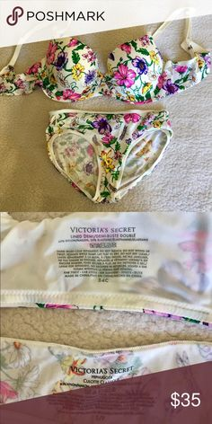 Victoria Secret bra and panties Floral Victoria secret dream angel bra and hipster panties . Like new !!! Victoria's Secret Intimates & Sleepwear Bras