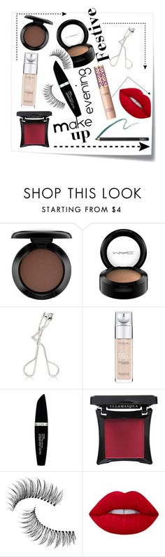 """""""Festive makeup"""" by spaceemo ❤ liked on Polyvore featuring Post-It, MAC Cosmetics, Maybelline, L'Oréal Paris, tarte, Max Factor, Illamasqua, Trish McEvoy, Lime Crime and NARS Cosmetics"""