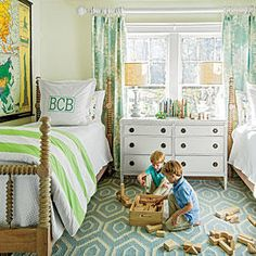 "Lindsey Ellis Beatty doesn't let life with young boys put a damper on ultra-feminine palettes in her Birmingham home. Instead, she lightens up standard ""boy's room"" colors, taking them in a pastel direction for the bedroom shared by her sons Walker, 6, and Beckett, 4.     What She Did 