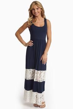 Navy-Blue-Lace-Colorblock-Maxi-Dress
