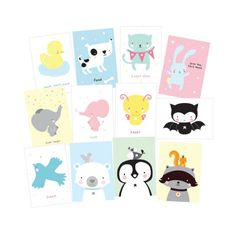 <p>Beautiful set of 12 Little Lovely postcards with cute animals. Fun to send, but also great as decoration in the kids room! Cute in a postcard holder or with colored tape on the wall.</p>
