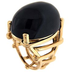 Oval Cabochon Black Jade Gold Trellis Ring | From a unique collection of vintage dome rings at https://www.1stdibs.com/jewelry/rings/dome-rings/