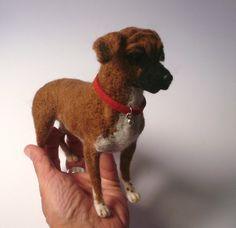 Needlefelted Dog/Needle felted Boxer /Needle Felted Animal /OOAK/ Custom Miniature Sculpture of your dog