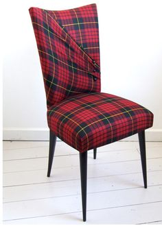 Aiveen Daly's McQueen Stiletto chair in red tartan upholstery. cool way to do tartan with a twist! Tartan Chair, Furniture, Chair Upholstery, Plaid, Upholstered Furniture, Furniture Upholstery, Chair, Plaid Chair, Upholstery