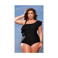 """España"" One Shoulder Ruffle Plus Size Swimsuit w/Detachable Strap - Black - Plus Size Swimwear - Monif C ($118) found on Polyvore"