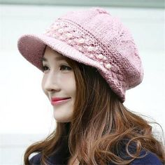 Peal knit newsboy cap for winter casual warm womens baker boy hat 514412b3c55