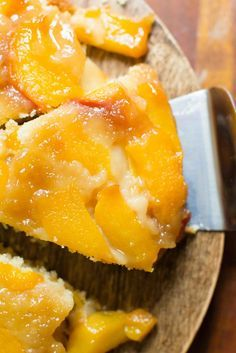 Summer Peach Upside Cake - bakesinslippers.com