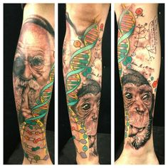 Charles Darwin, DNA, and monkey tattoo by Josh Payne. Love this!