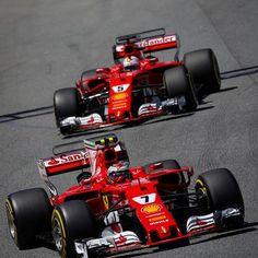 Kimi Raikkonen, Ferrari and Sebastian Vettel, Ferrari at Spanish GP High-Res Professional Motorsports Photography Ferrari Racing, Ferrari F1, F1 Racing, Formula 1 Games, Formula 1 Car, Gp F1, F1 2017, Ferrari Scuderia, American Racing
