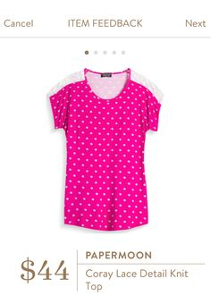 I love the color and the polka dots. Just a fun, casual everyday top