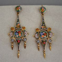 Vintage micro mosiac earrings