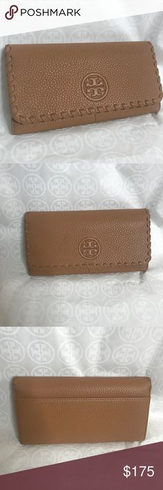 Tory Burch flat envelope continental wallet Beautiful soft pebbled leather, authentic, and brand new with tags! Reg $195 make me an offer, details and dimensions in pics Tory Burch Bags Wallets
