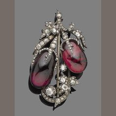 A garnet and diamond brooch, circa 1850 The oval cabochon garnet berries in closed-back settings, the leaves and stems set with rose, old brilliant and cushion-shaped diamonds, mounted in silver and gold. Bijoux Art Deco, Art Nouveau Jewelry, Jewelry Art, Fine Jewelry, Jewelry Design, Jewlery, Victorian Jewelry, Antique Jewelry, Vintage Jewelry