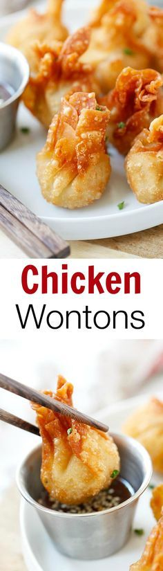 Chicken wontons – the easiest and BEST fried chicken wontons ever! Takes 20 mins to make. SO crispy & yummy!! | rasamalaysia.com