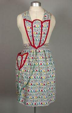 Tulips print 1930s-1940s floral cotton apron