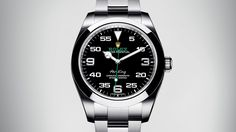 The Rolex Air-King with a 40 mm case in 904L steel and a black dial.